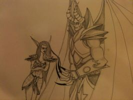 Dreadlord and night elf by milky0candy