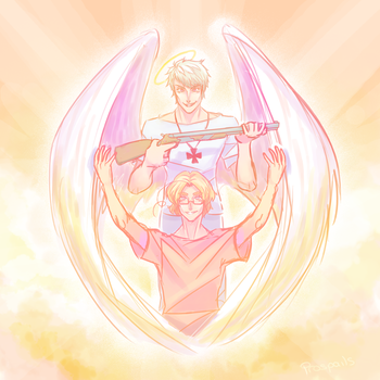 Angel With A Shotgun by Biology-of-Pencils