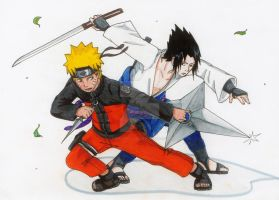 Naruto and Sasuke, Shippuden by AurelGweillys