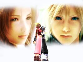Cloud x Aerith Wallpaper - Looking at you by Aorka