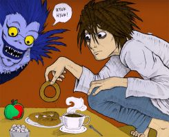 L and Ryuk by greyflea