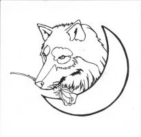 Wolf, Moon, And Rose tattoo by karadarkthorn
