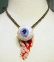 crochet eyeball necklace by meekssandygirl