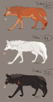 Adoptables --- Ember, Ashes, and Cinder by DarkHeartSeer