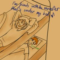 Friends with the monster by ALittleBlueApple
