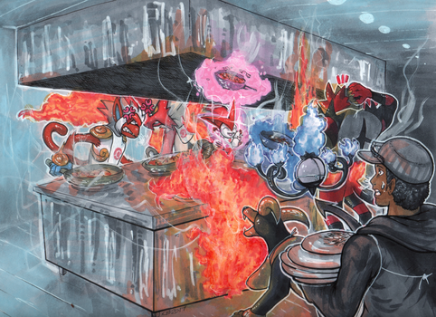 Commission: Fire Type Team Cook Off! by Pixelated-Takkun