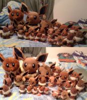 My Huge Eevee Plush Collection by Eevee-Kins