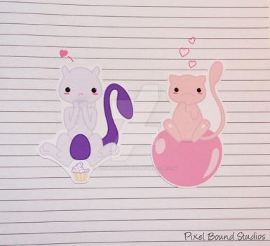 Mewtwo/Mew Stickers and Magnets by pixelboundstudios