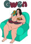 OC Gwen Eating on Couch (colored verion) by Bobinater20