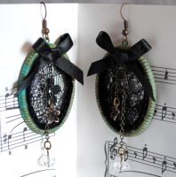 Gothic Lace Earrings by RagDolliesMadhouse
