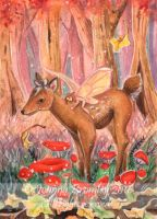 ACEO Fawn in Faery Ring by JoannaBromley