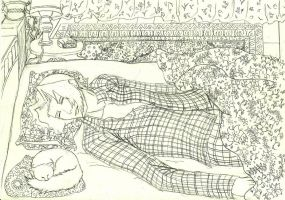 Miles asleep with a cat next to him by Stoofpot