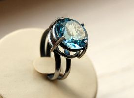 ring silver sterling blue topaz by honeypunk