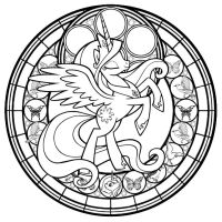 Celestia StainedGlass: the Line Art by Akili-Amethyst