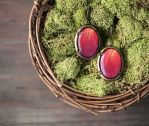 Red Rose oval leverback earrings by BeautySpotCrafts