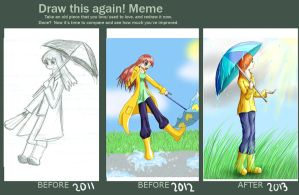 Draw Again Meme: Umbrella: My first deviation by stopthinkmove