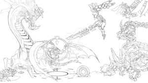 Mech Vs Pve Lineart by Cllaud