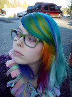 Rainbowfall of hair by MeganYourFace