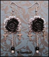 Black roses earrings by Gloomyswirl