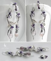 Wisteria branches sterling silver set by JuliaKotreJewelry