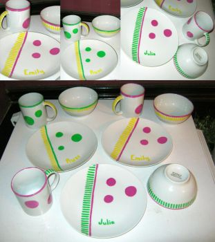 Hand Painted Kids Dishes by EccentricOcean