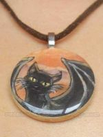 Flying Black Cats - Necklace by sobeyondthis