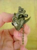 Winged Antique Brass Heart by monsterkookies