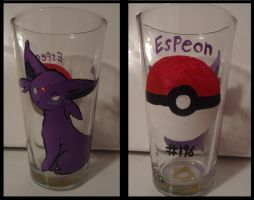 Handpainted Espeon Glass by Chii-Uso