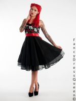 Punk Roses and Skulls Dress worn by Cervena Fox by fdqphotography