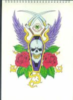 Coffin Skull and Roses by Stephen-Parry