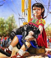 The little giant girl and her dog by veracauwenberghs