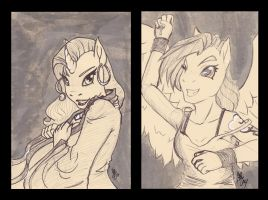Rainbow Dash, Rarity Pen Ink Sketches by AnkhsPaw