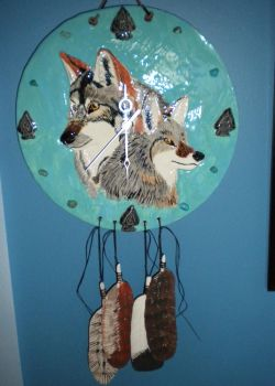 Wolf and Coyote Clock by Twilit-Guardian
