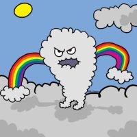 Angry Rainbow Arms Cloud Guy by KitMcSmash