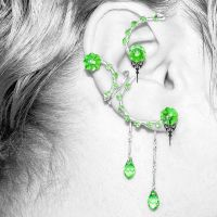 Peridot Steampunk Ear Wrap and Cuff Set v3- SOLD by YouniquelyChic