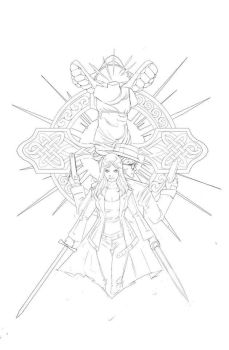 bullet and angel t-shirt  lineart by blackstyluss