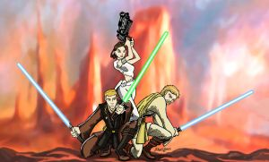 Anakin, Padme, Obi-Wan_AOTC by DrawnToPerfection