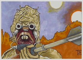 Tusken raider sketch card by TolZsolt