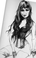 Amerie corset drawing by hotchip