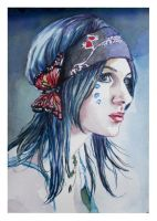 Hippy girl..watercolour by xxaihxx