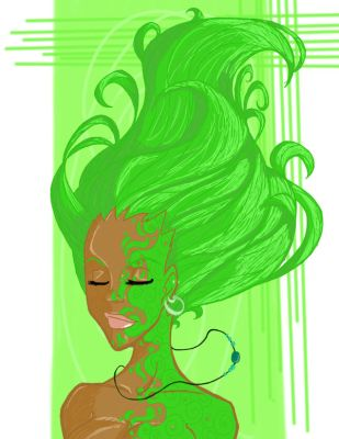 Green Flowy Hair by kelfolio