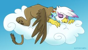 Snoozing Griffon by sophiecabra