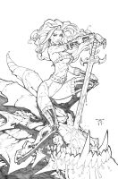 Dragon Slayer Rhea - pencils by RandyGreen
