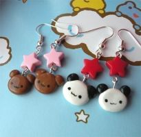 Bear Earring Pairs by AsianBunni