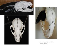 North American Raccoon Skull Necklace by TheSilverCaribou