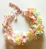 OOAK Crystal flowers Upcycled bracelet by Lovelyruthie