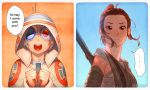 Rey + Humanized BB-8 by nakanoart