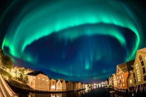 Northern lights over Trondheim city by lashrasch