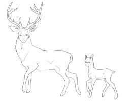 Endless Stag and Fawn by bored-dog