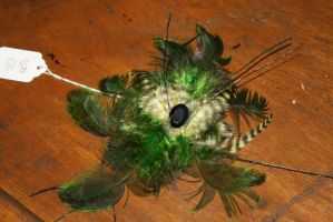 Green and Light Yellow Feather Hair Fascinator by Rakshka-Nikushimi